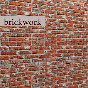 bricks wall 3d obj