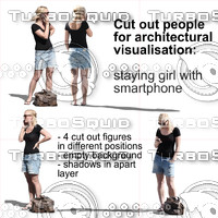 Cut out people for architectural  visualisation: staying and waiting beautiful blond woman figure