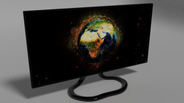 3d no-brand monitor model