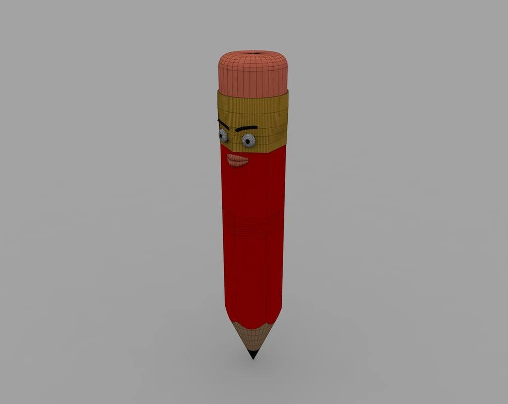 pencil character generic 3d c4d