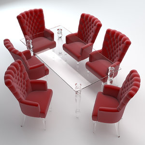 3d model of armchair table