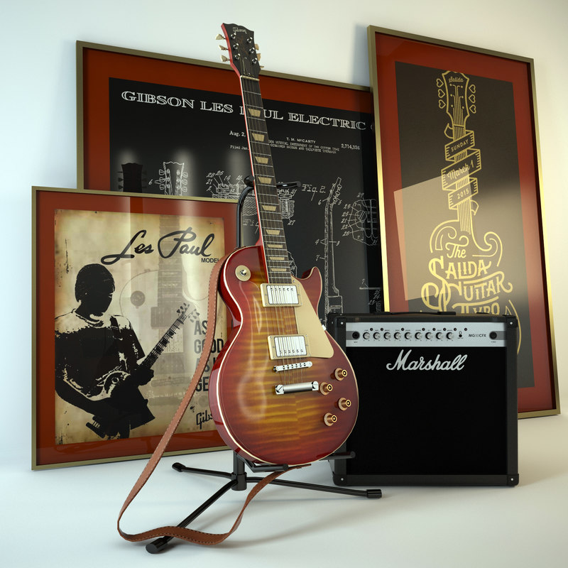 electric guitar gibson les 3d max