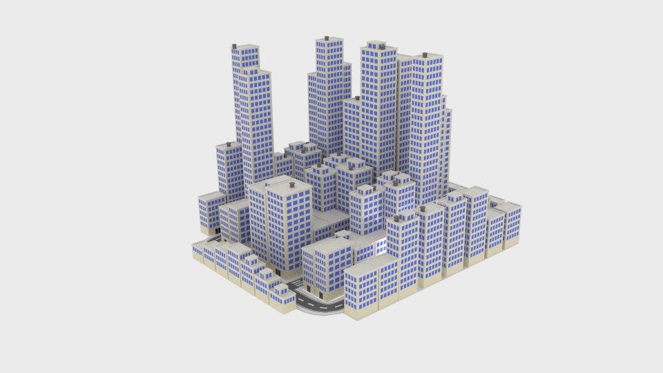 3d model city blocks