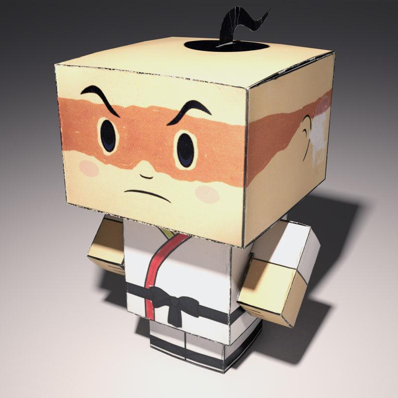 realistic box karate man 3d model