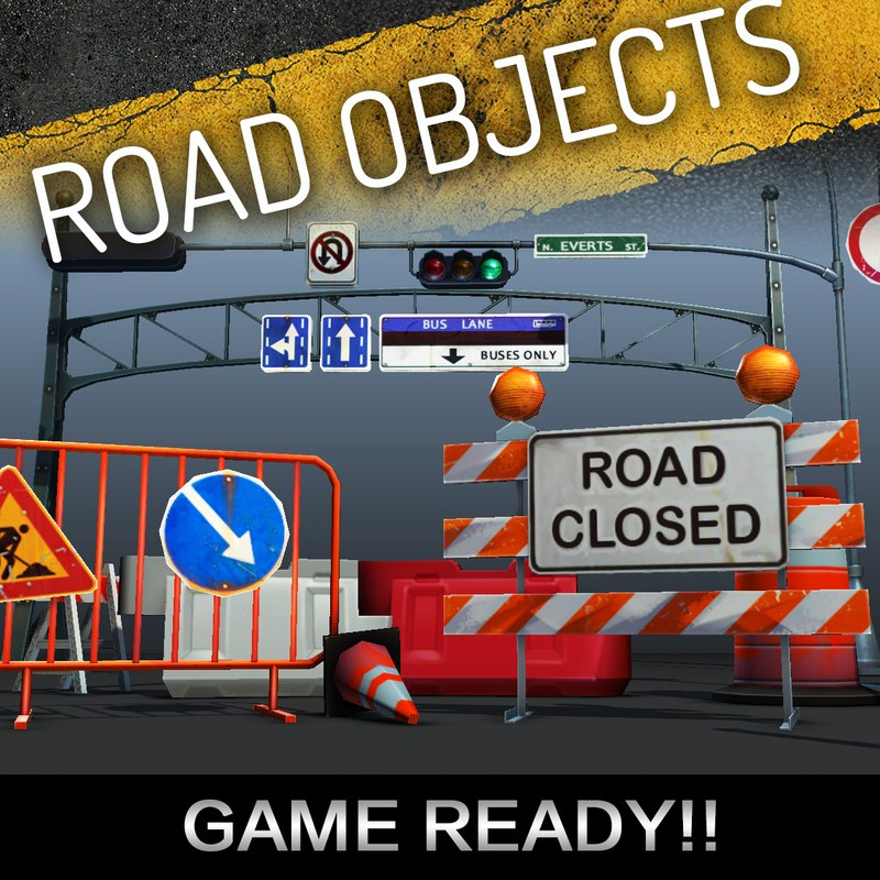 3d model road objects pack