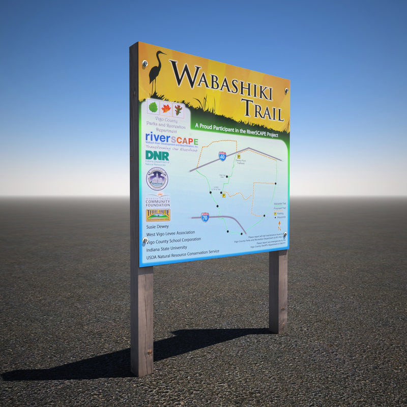 park trail sign 3d max