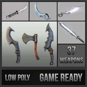 3d fantasy weapon daggers hammer