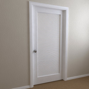 interior door - louvered 3d model