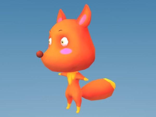 cartoon fox 3d model