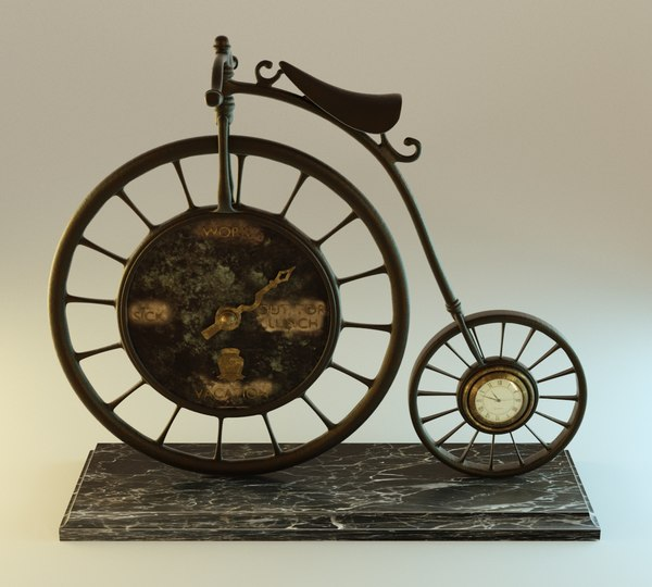 3d blender bicycle clock model
