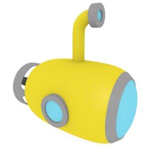 cartoon submarine 3d 3ds