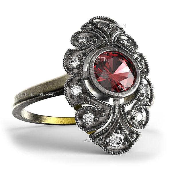 antique ring 3d max