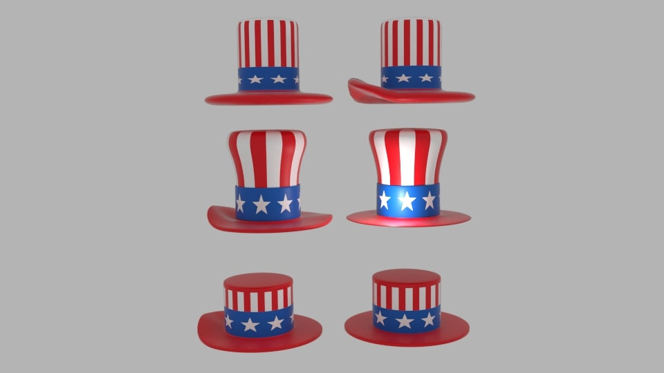 usa hat pack 3d model