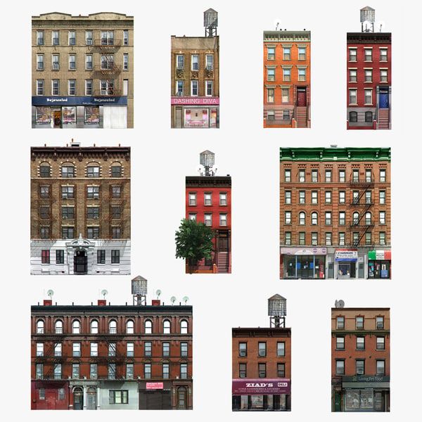 3d photorealistic 10 buildings set