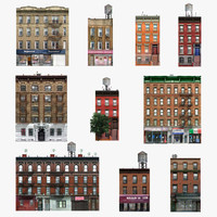 photorealistic 10 buildings set 3d model