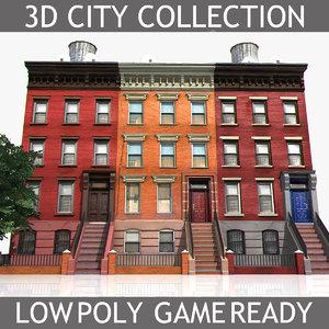 3d new york brick house model