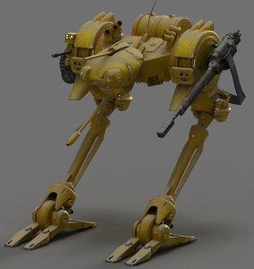 robot ostrich 3d max