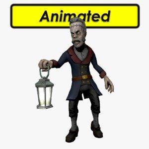 character zombie butler 3d model