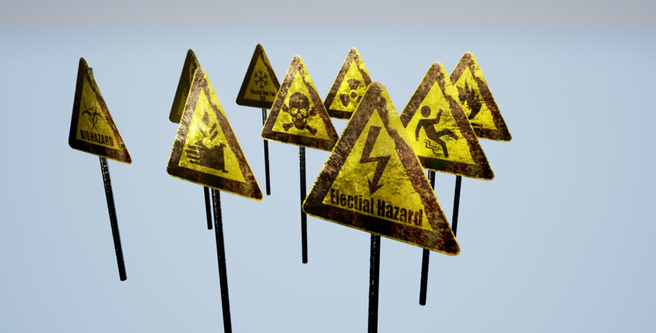 warning signs 3d max