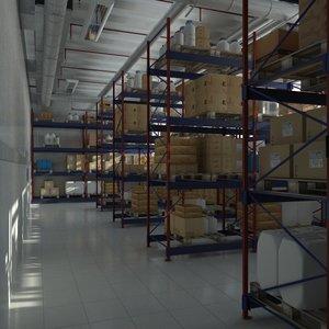 warehouse shelves 3d model