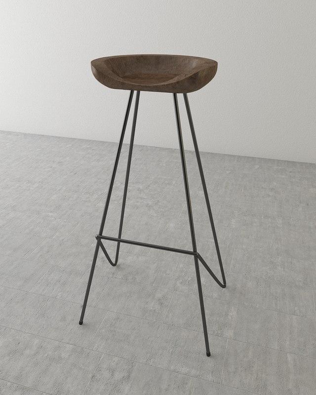 perch barstool 3d model