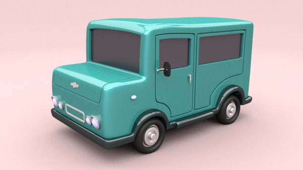 cartoon car 3d obj