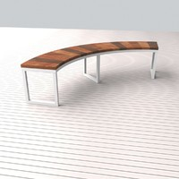 Bench Modern Contemporary wood, metal, semicircle shape