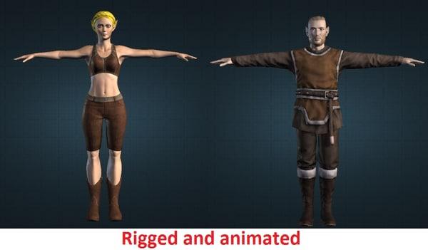 characters elf couple 3d model