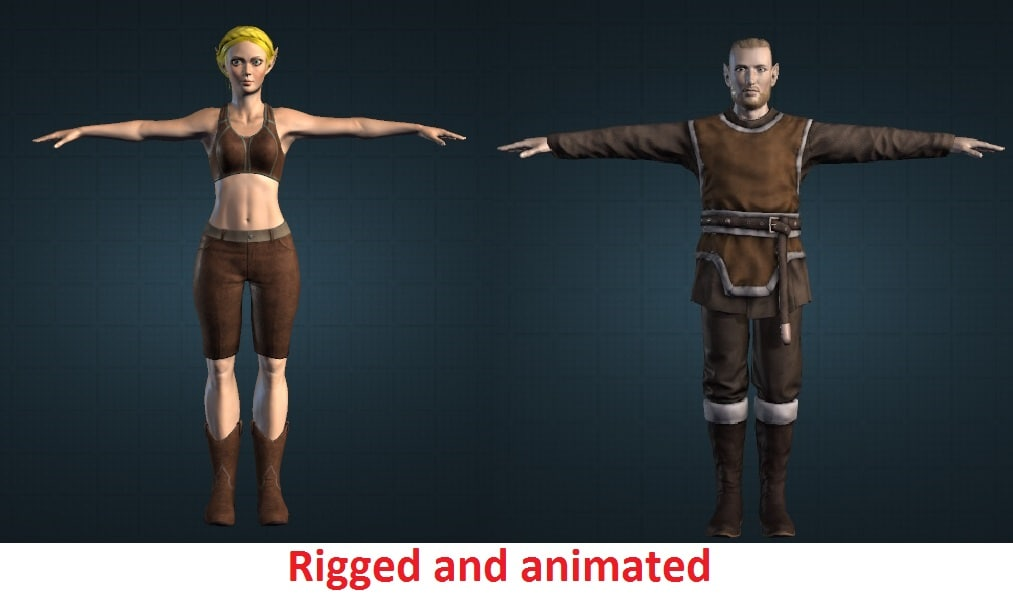 characters elf couple 3d model