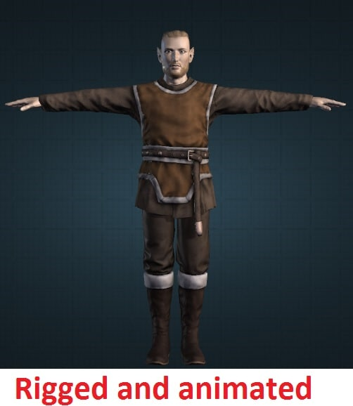 3d model of male elf rigged character