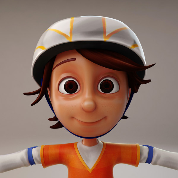 3d cartoon boy skate model