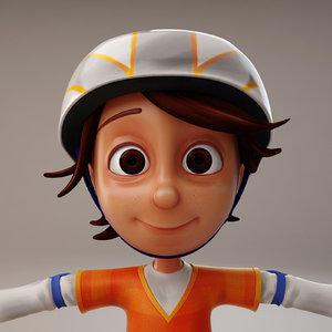 3d cartoon boy skate model