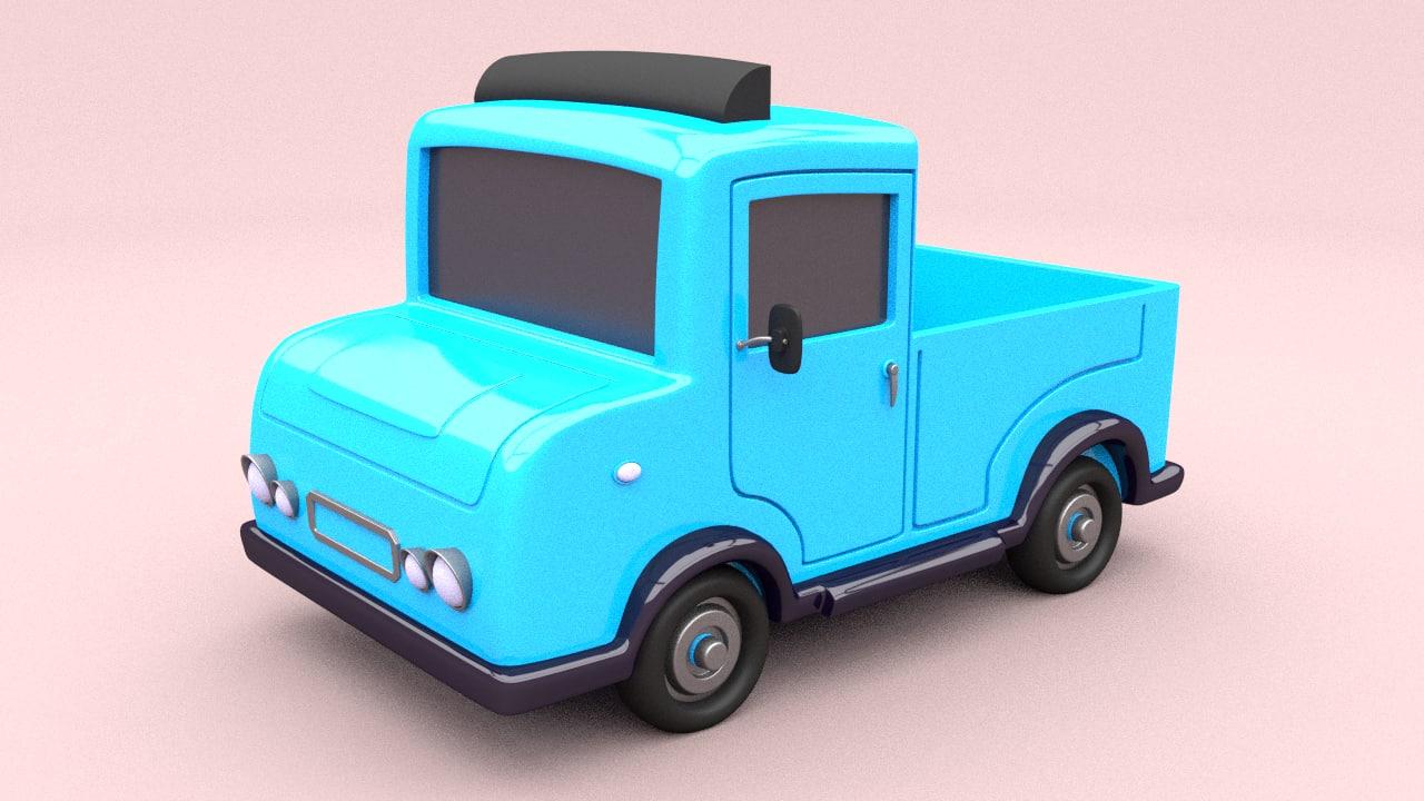 cartoon car truck obj