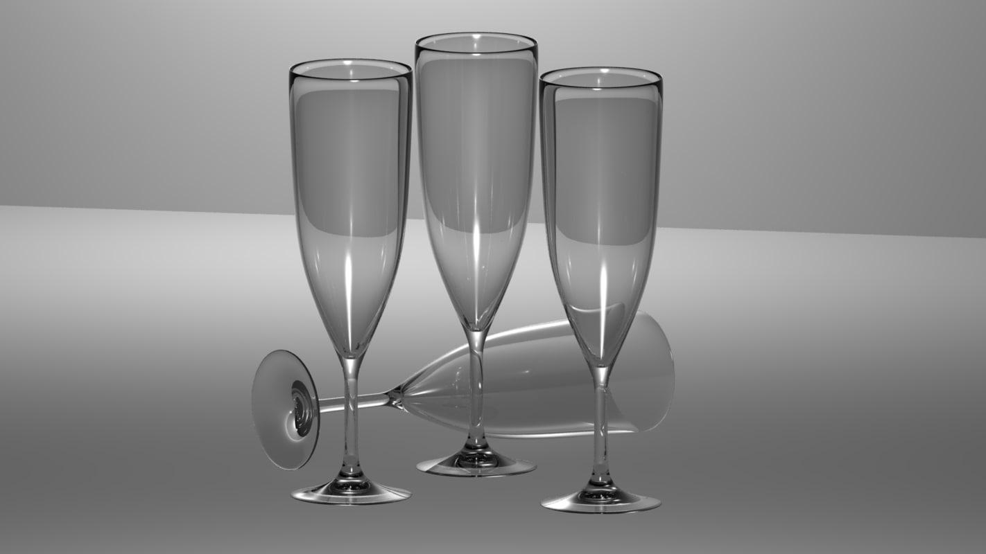 glass champagne 3d max