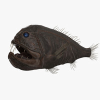 fangtooth fish dark 3d obj