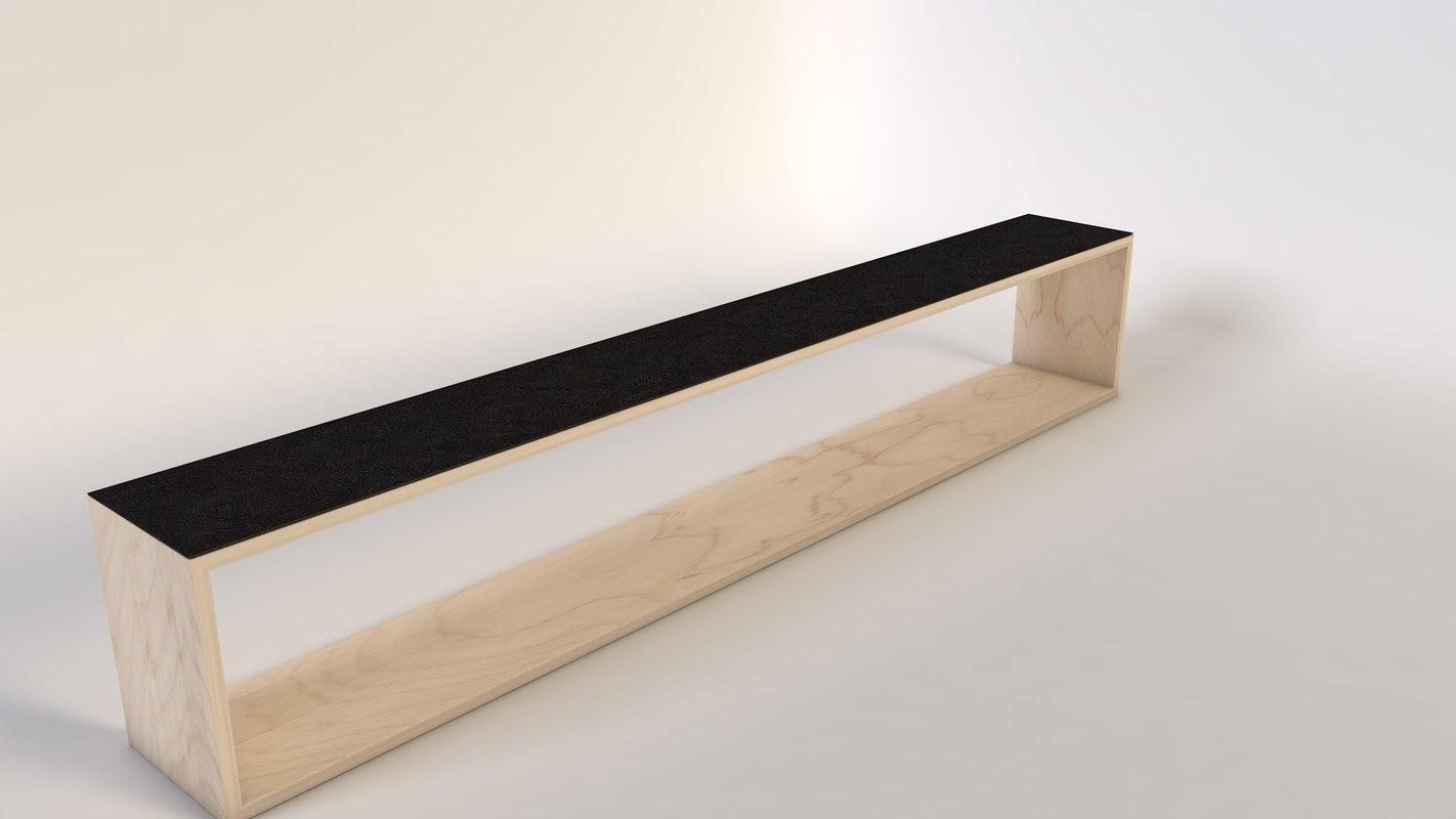 banc bench wood c4d