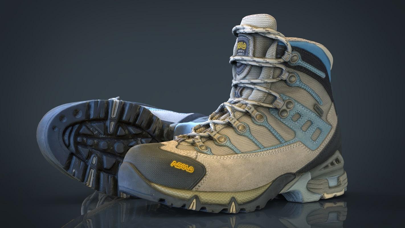 hiking boots obj
