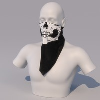 3d photorealistic kerchief face skull