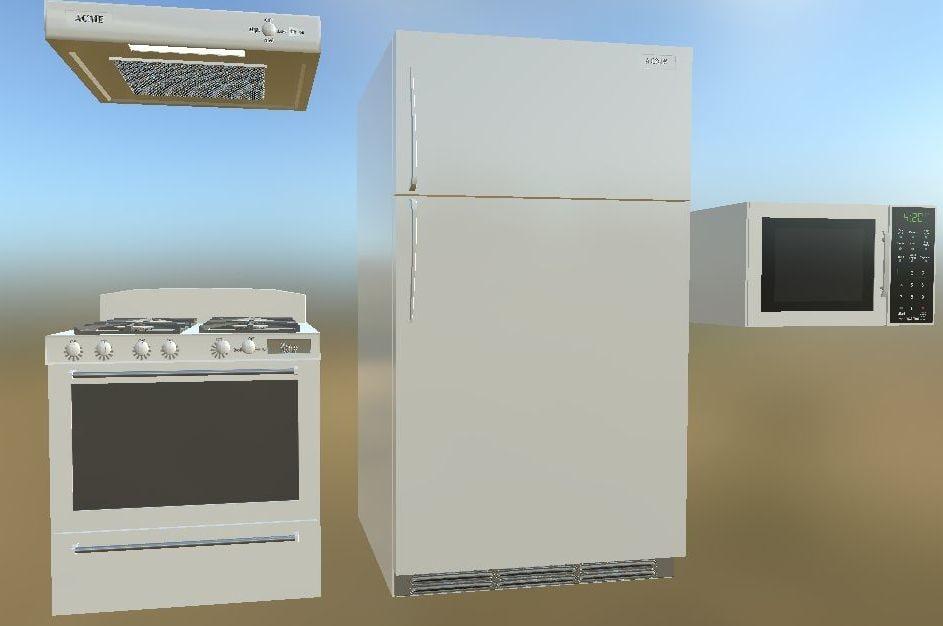 3d model refrigerator stove oven