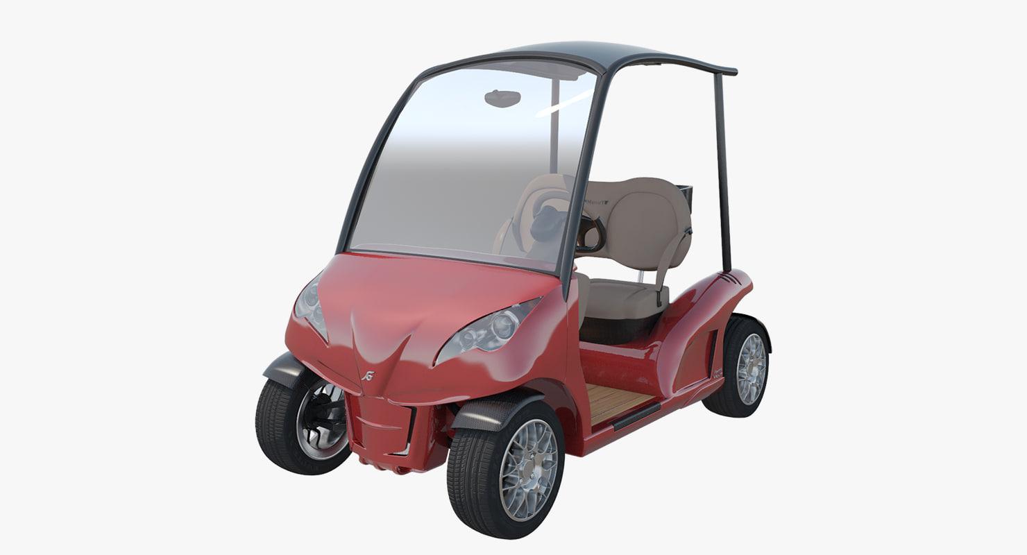 3d model luxury golf cart garia