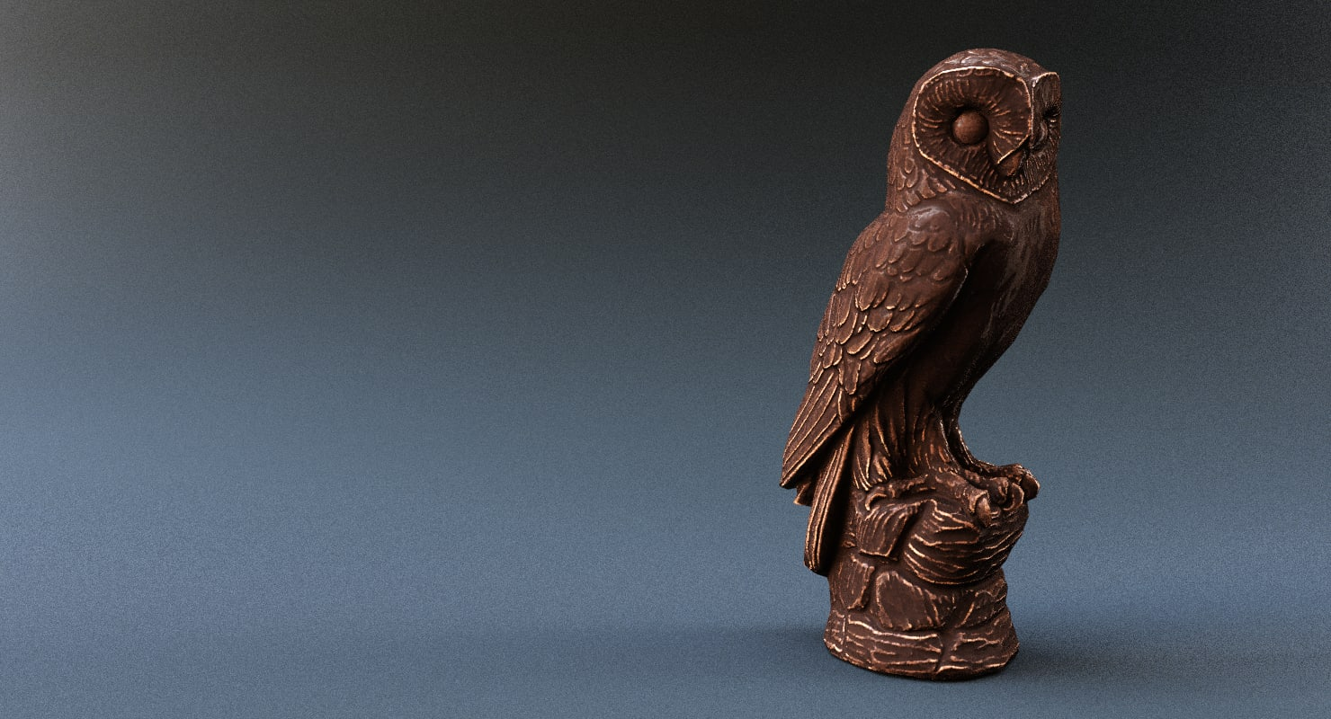 scanned owl statue bronze 3d model