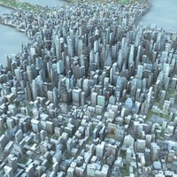 3d model cityscape scene highrise