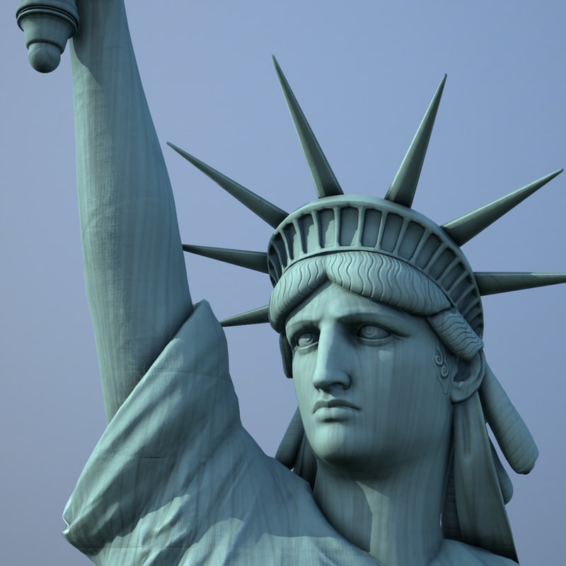 realistic statue liberty 3d obj