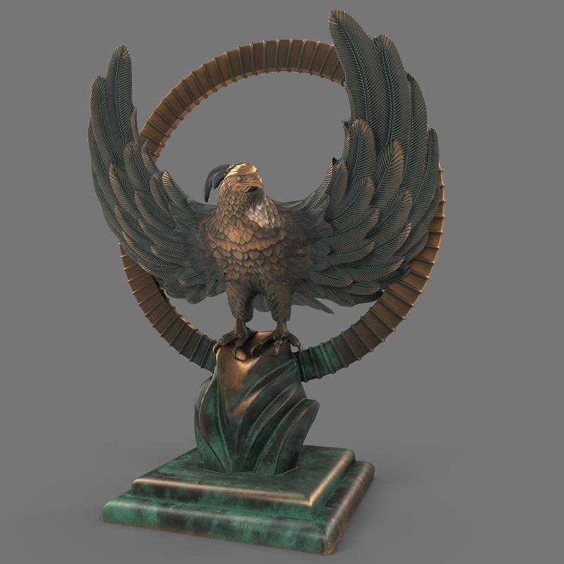 3d model golden phoenix statue