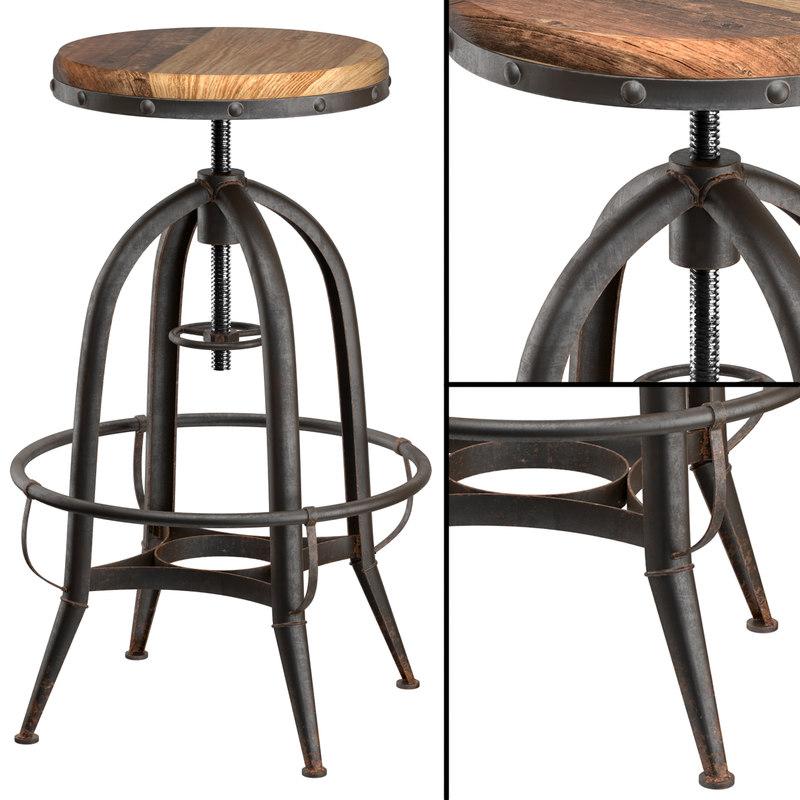 3d model chair loft industrial rotative