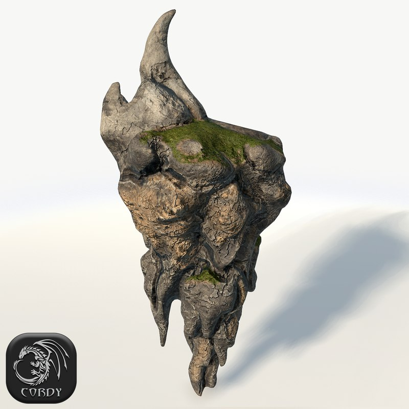 3d model floating island rock