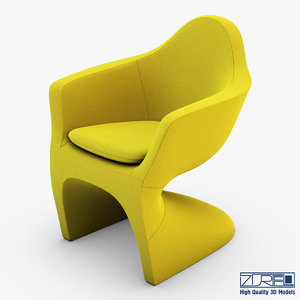 lotem chair yellow 3d model