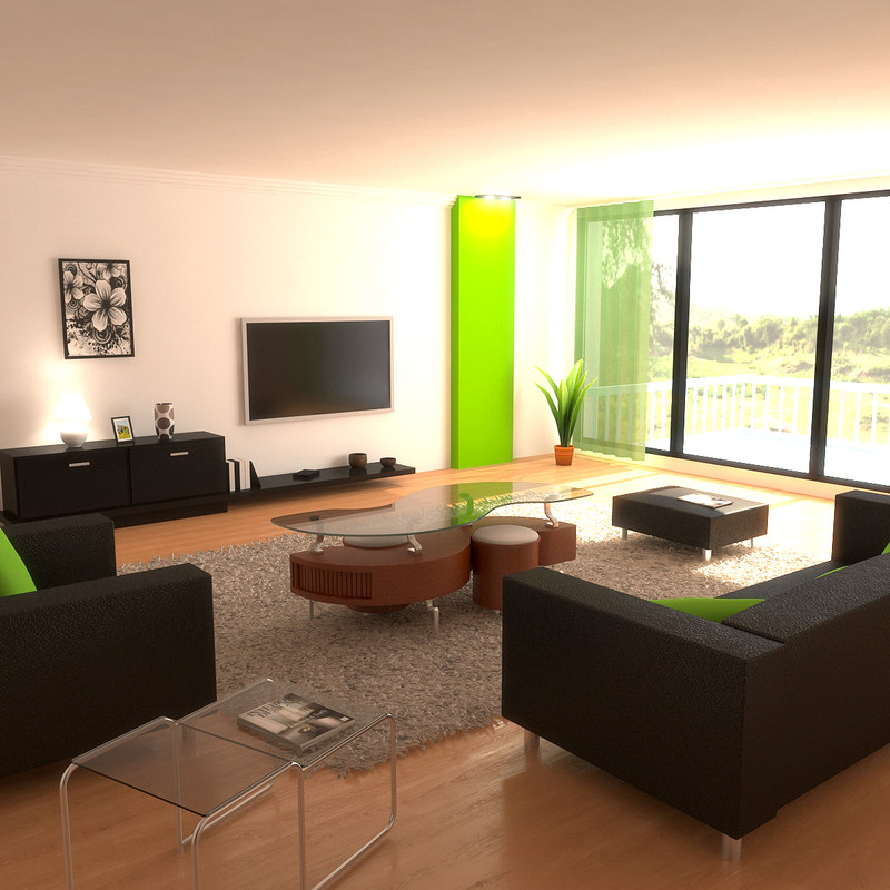 3d modern living room lighting