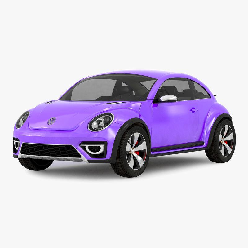 3d volkswagen beetle 2016 purple