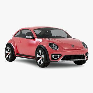 3d volkswagen beetle 2016 red model